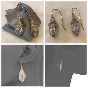 Jewelry - Gold & Crystal Infinity Wire Drop Earrings